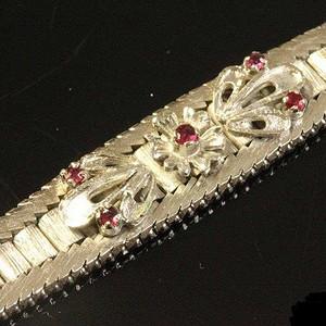 德国回流之超漂亮材质镶嵌天然红宝石手链