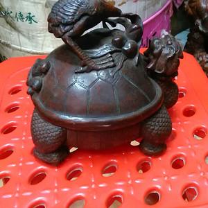 竹雕龟鹤摆件