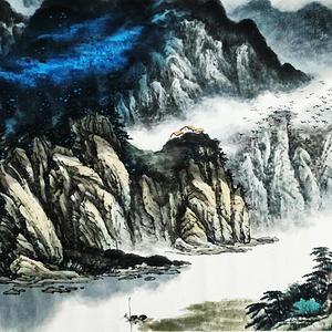 著名山水画家 叶培青 白龙湾上鸟欢歌
