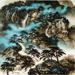 著名山水画家 叶培青 高山流水