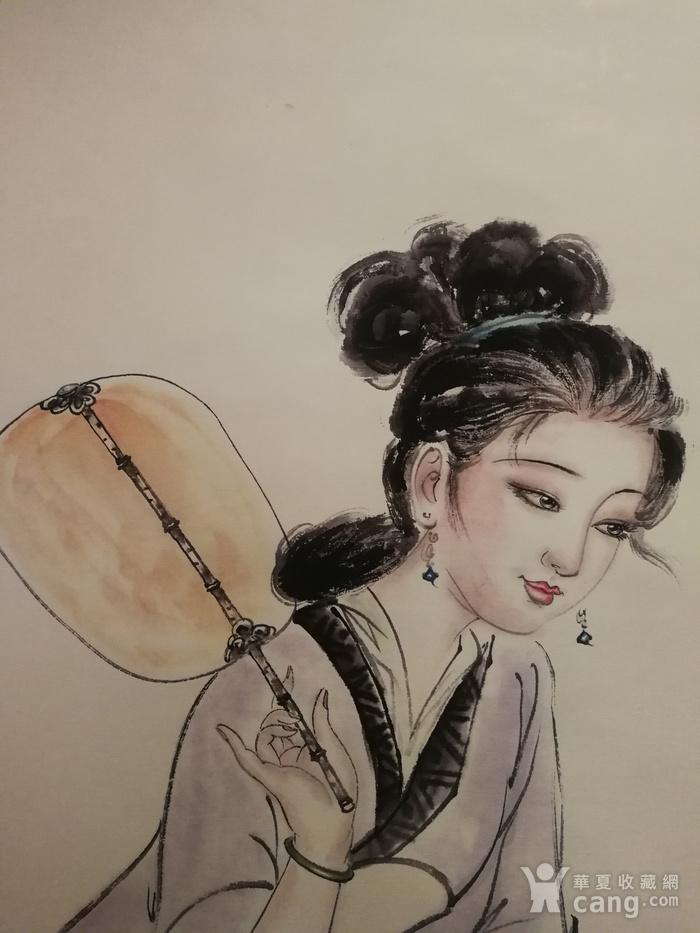 装裱画白伯骅侍女观荷图1