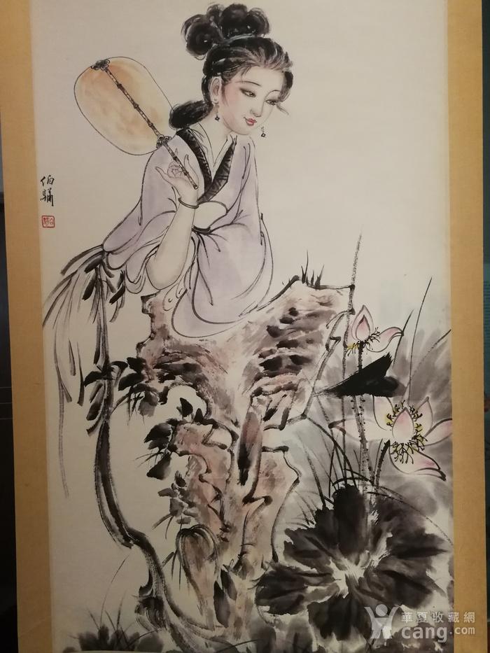 装裱画白伯骅侍女观荷图2