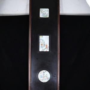 清代浅降人物绘画瓷板挂屏