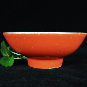 民国胭脂红釉碗