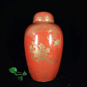 清代 号胭脂红花鸟描金开窗绘画盖罐