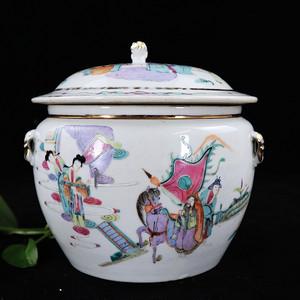 清代粉彩郭子仪遇仙绘画粥罐