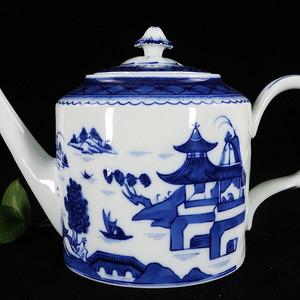 维多利亚时期青花山水绘画 号执壶