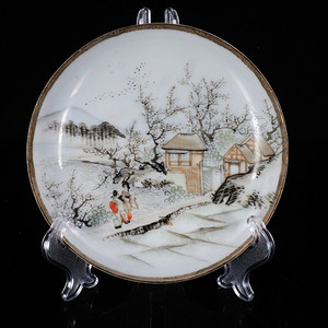 明治时期墨彩富士山雪景绘画盘