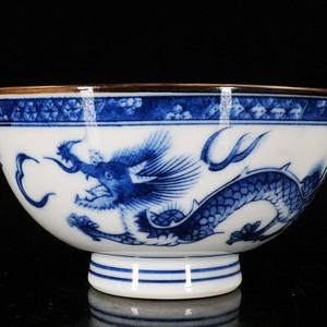 明治时期青花双龙绘画碗