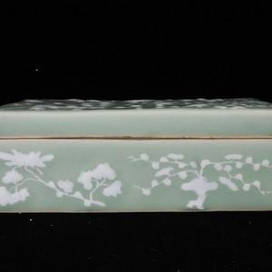 清代豆青堆白花卉绘画文具盒