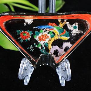 民国墨地粉彩花鸟绘画烟缸