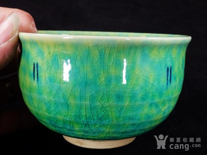 清代绿釉开片碗图3