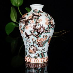 晚清粉彩喜鹊梅花绘画梅瓶