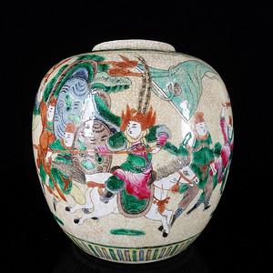 清代哥釉五彩三国人物绘画 罐