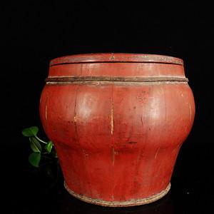 民国红漆木盖罐