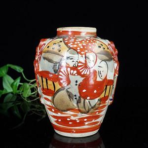晚清矾红加彩人物绘画罐