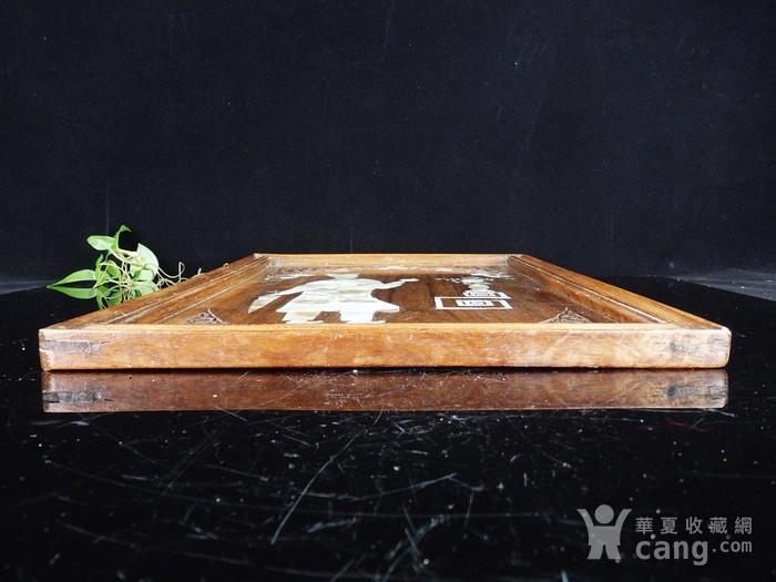 清代花梨木贝壳镶嵌人物挂屏图7