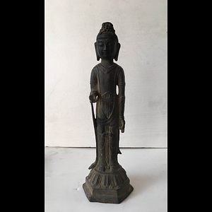 清代精品释加牟尼铜佛站像
