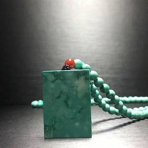 联盟湖北十堰极品高瓷网花绿松石无事牌吊坠