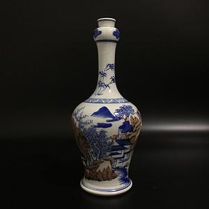 青花甲子山水瓶