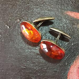 8102欧洲回流俄罗斯银鎏金琥珀袖扣一对