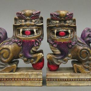 清民,老寿山石雕双狮