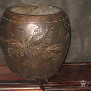 清中期文玩精品虾趣图铜画缸