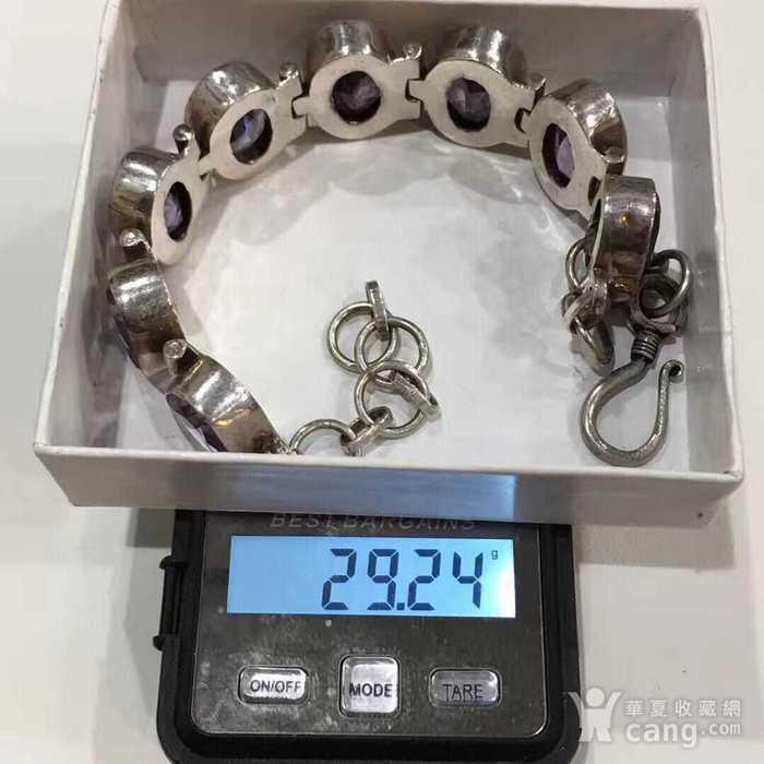 美国回流的纯银镶嵌宝石手链图3