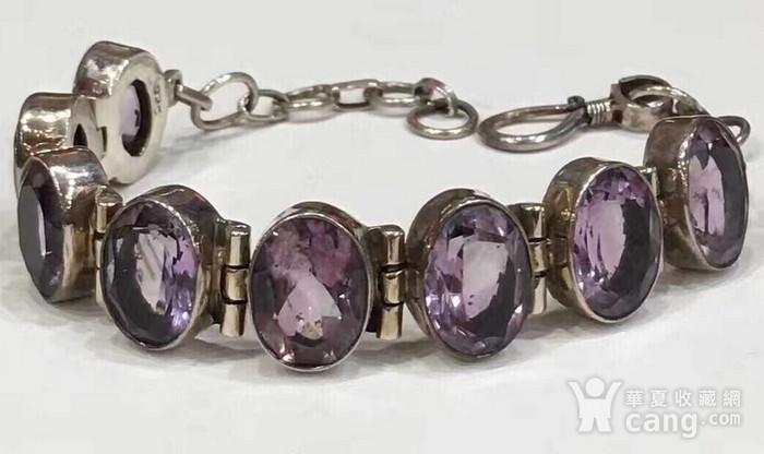 美国回流的纯银镶嵌宝石手链图1