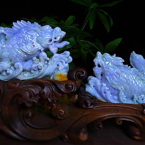 自然光实拍!天然A货好种料细腻精工紫罗蓝招财龙头鱼摆件