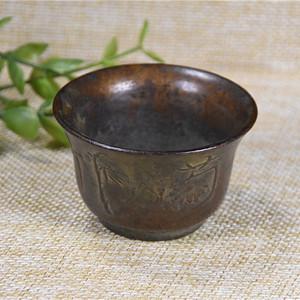 日本回流 紫铜  梅兰竹菊 酒杯