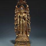 明精铸铜胎鎏金释迦牟尼佛立像