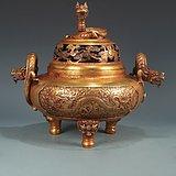 明精铸铜胎鎏金海水龙纹兽足螭龙耳熏炉