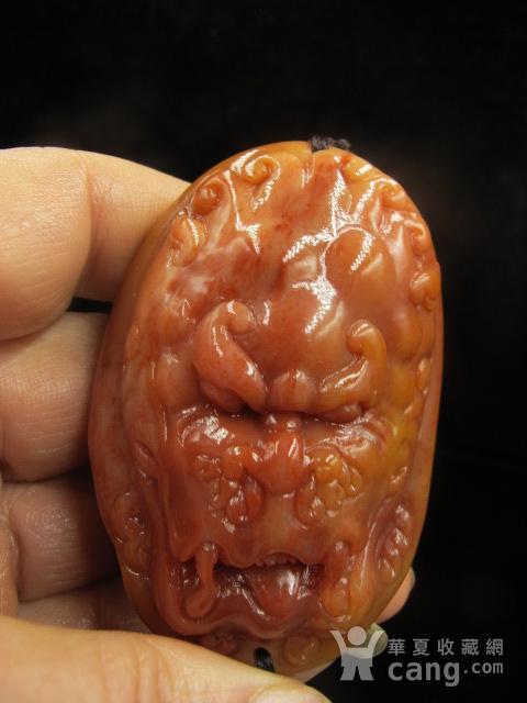 苹果彩票pk10精品 老挝田黄 结晶体老挝红田黄图腾兽面把件或车挂件图10