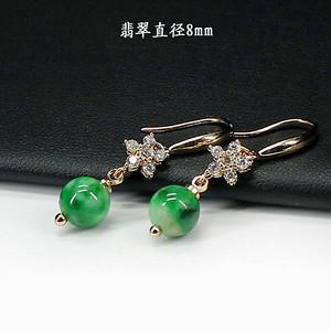 翠绿翡翠圆珠耳饰 银镶嵌1265