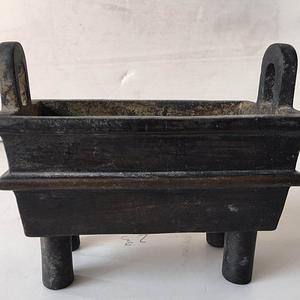 清中期鼎式四方老铜香炉