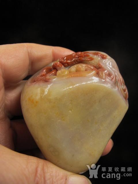 苹果彩票pk10精品 老挝田黄 老坑结晶体 老挝白皮红芯田黄手把件图3