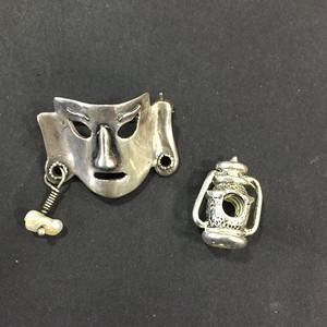 8017欧洲回流老银面具胸针与配饰