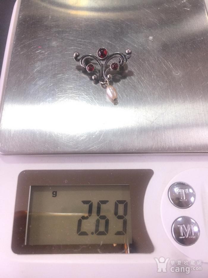 8024欧洲回流银嵌石榴石胸针图9