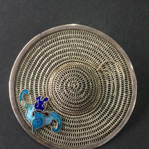 8029欧洲回流银花丝珐琅彩胸针