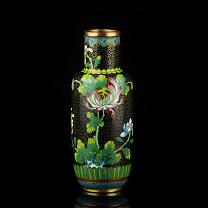 8民国铜胎掐丝珐琅花卉纹纹