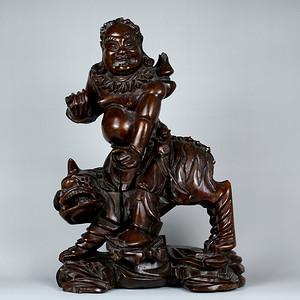 12民国神仙人物纹雕件