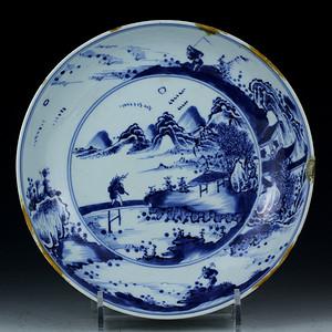 21清雍正青花山水渔乐纹盘