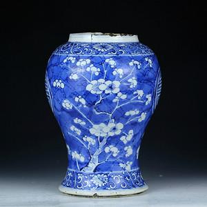 36清康熙青花冰梅团寿纹半截花觚