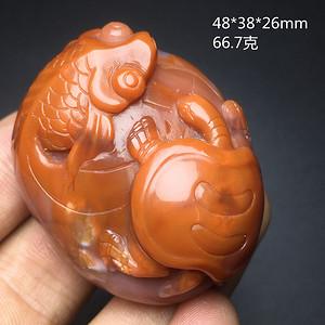 柿子红四川南红 金鱼富甲