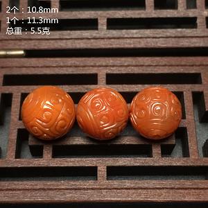 精品级南红满肉柿子红回纹珠