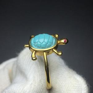湖北原矿高瓷高蓝绿松石s925银乌龟戒指