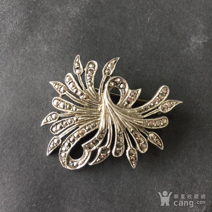 8053欧洲回流老银镶嵌铁矿石胸针图2