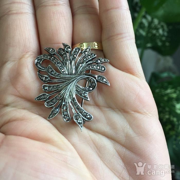 8053欧洲回流老银镶嵌铁矿石胸针图5