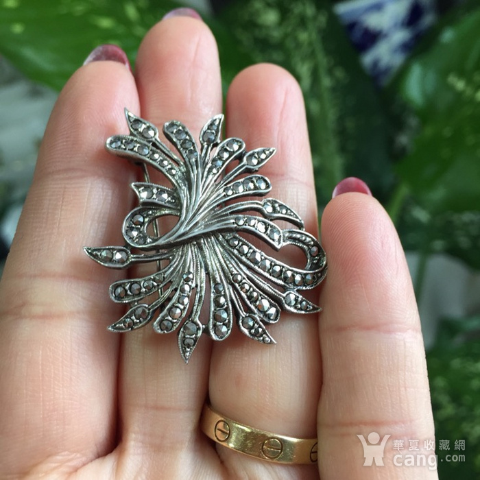 8053欧洲回流老银镶嵌铁矿石胸针图7
